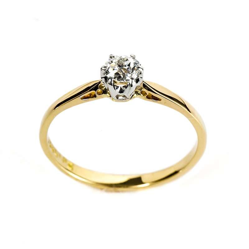 18YG 0.20ct G/VS2 Round Diamond Ring